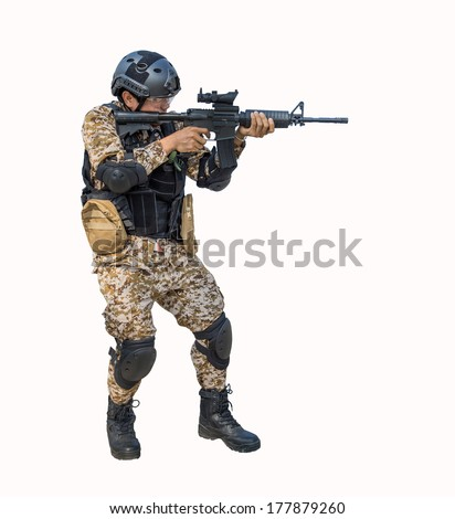 soldier training gun tactic isolated - stock photo