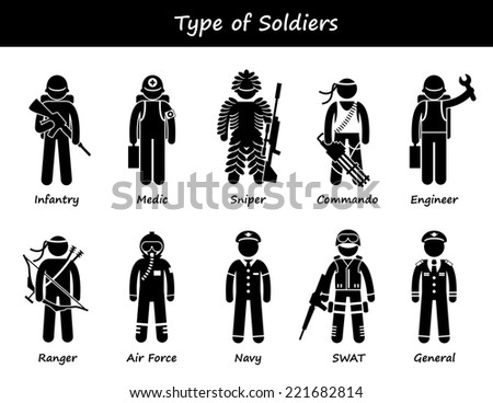 Soldier Types and Class Stick Figure Pictogram Icons - stock photo