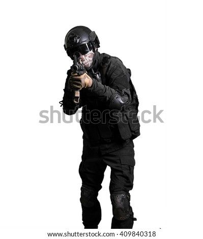 Soldier wearing black suit with a m4 isolated - stock photo