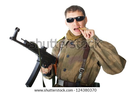 Soldier wearing sunglasses with machine gun smoking a cigar isolated on white background - stock photo