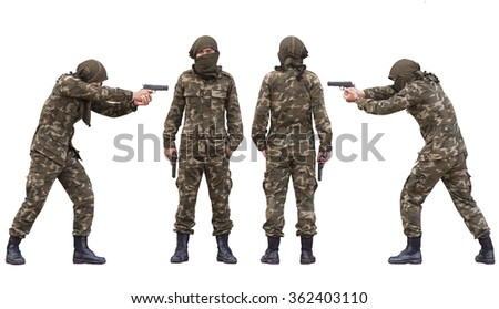 Soldier wearing Yellow uniform Turban shemagh with gun isolated - stock photo