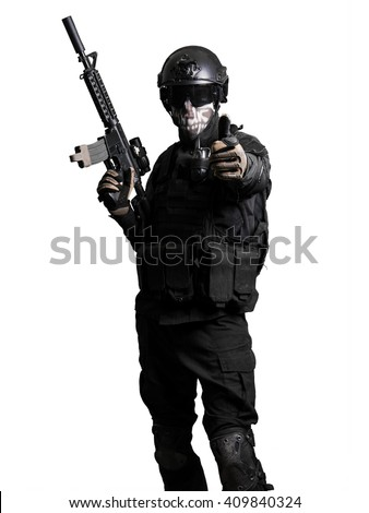 Soldier with a m4 doing positive gesture isolated - stock photo
