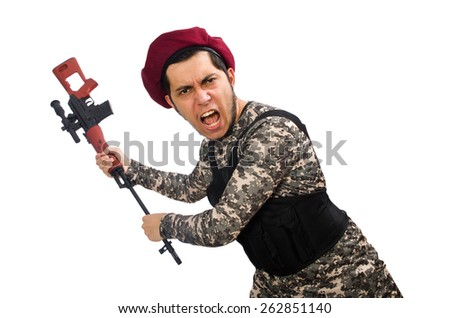 Soldier with a weapon isolated on white - stock photo