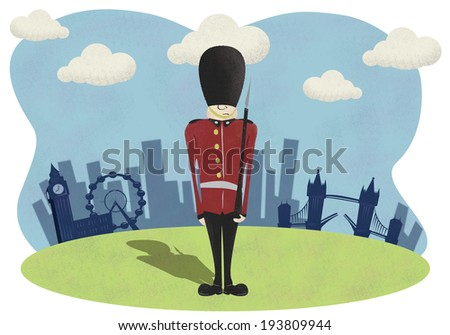Soldier with London City background - stock photo