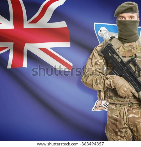 Soldier with machine gun and national flag on background series - Falkland Islands