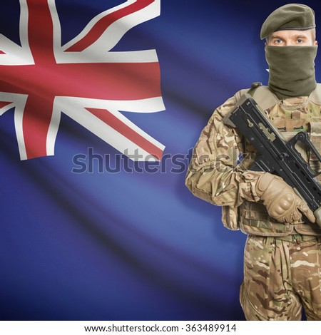 Soldier with machine gun and national flag on background series - New Zealand