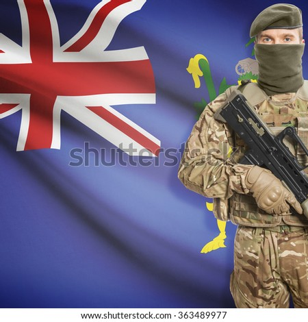 Soldier with machine gun and national flag on background series - Pitcairn Islands