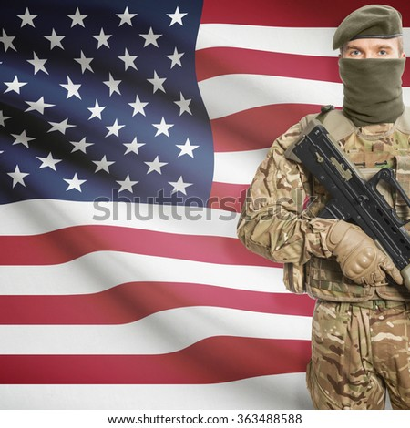 Soldier with machine gun and national flag on background series - United States of America