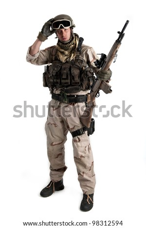Soldier with rifle against white background. Full body. - stock photo