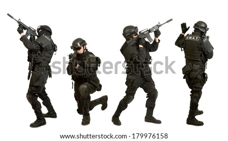 Soldier with rifle on set a white background  - stock photo