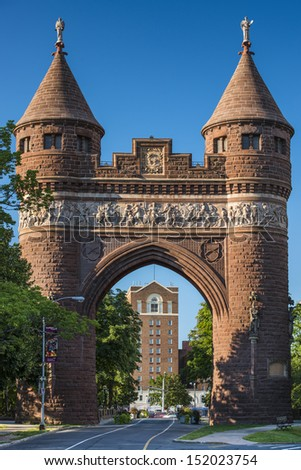 Soldiers and Sailors Memorial Arch in Hartford, Connecticut commemorating the Civil War.