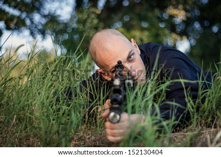 Soldiers at their positions on field. Ready for Attack.  - stock photo