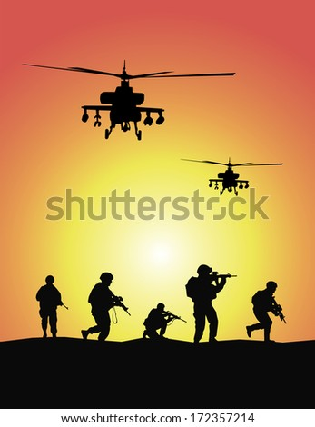 Soldiers group, military helicopters - stock photo