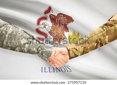 Soldiers handshake and US state flag - Illinois - stock photo