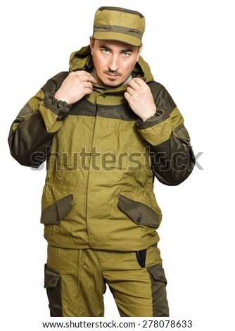 soldiers in mountain windproof camouflage on a white background