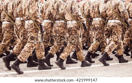 Soldiers in the form of khaki march in formation