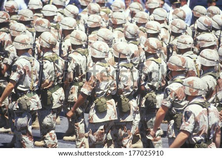 Soldiers Marching in Desert Storm Victory Parade, Washington, D.C. - stock photo