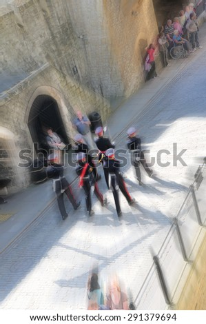 SOLDIERS MARCHING IN LONDON TOWER (RADIAL BLUR BACKGROUND)