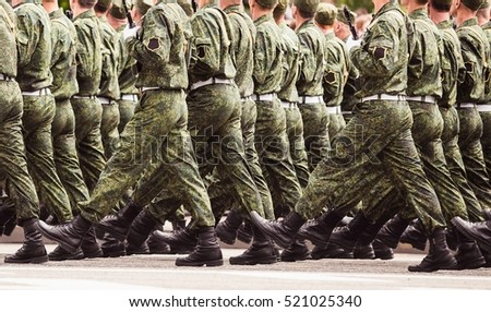 Soldiers marching training in the army. Green uniform