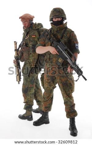 Soldiers of the Bundeswehr with the weapon. - stock photo