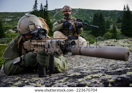 Soldiers on Mountain operations - stock photo