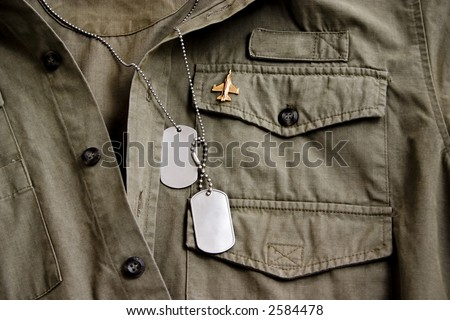 Soldiers shirt with tags - stock photo