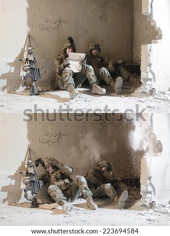 Soldiers under enemy fire. sudden attack. Collage of two photos. Each photo individually is in my portfolio. - stock photo