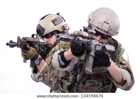 Soldiers with rifle on a white - stock photo