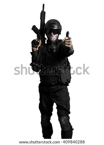Soldiert with a G36K doing positive gesture isolated - stock photo