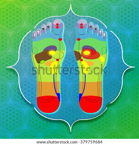 sole of the foot with reflexology - stock photo