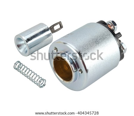 Solenoid for Starter for a car isolated on white background. Car spare parts - stock photo
