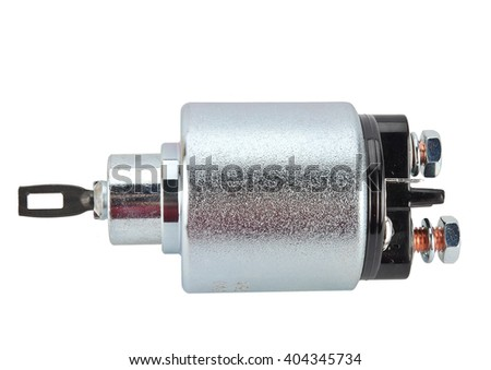 Solenoid for Starter for a car isolated on white background. Car spare parts. Spare parts for the starter - stock photo
