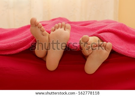 soles of the feet of childrens - stock photo