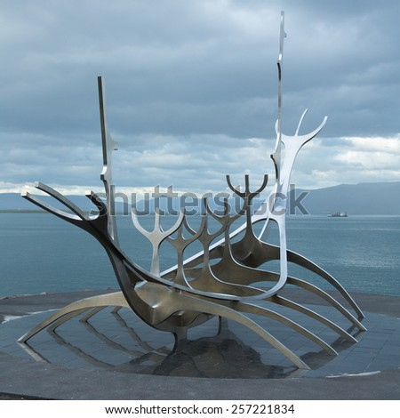 Solfar monument at Reykjavik - stock photo