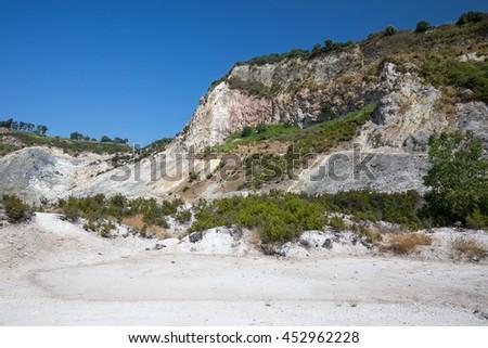 Solfatara crater - Phlegraean Fields Italy - stock photo