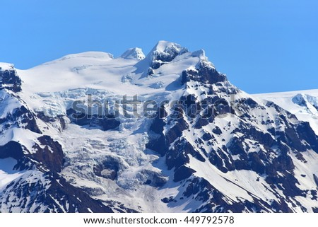 Solheimajokull glacier in southern part of Iceland - stock photo