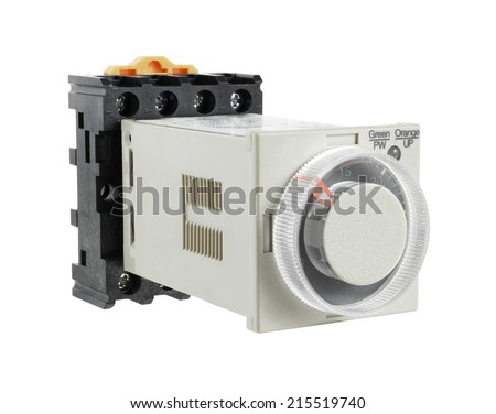 Solid-State Timer with Socket isolated on white background - stock photo