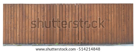 Solid wooden fence from brown vertical boards fragment. Isolated panoramic collage
