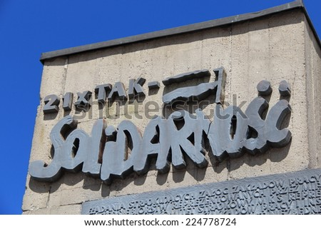 Solidarity sign on the wall. Solidarity is a Polish trade union federation that emerged on 31 August 1980 at the Gdansk Shipyard under the leadership of Lech Walesa. - stock photo