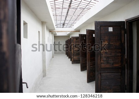 solitary confinement rooms in a concentration camp - stock photo