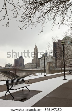 Solitude on a snowy day in Columbus, Ohio - stock photo