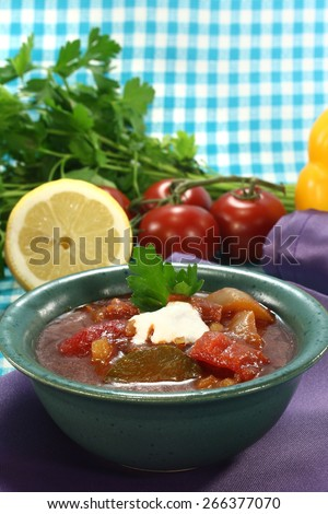 Soljanka in a soup bowl with pickles and a dollop of cream - stock photo