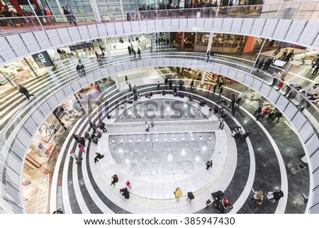 SOLNA, SWEDEN - MARCH 4, 2016: Circular interior at the Mall of Scandinavia in Solna. 2015 was the mall opened. - stock photo
