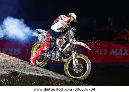 SOLNA, SWEDEN - MARCH 4, 2016: Presentation of Rockstar racer at the Night of the jumps in Stockholm, Friends arena