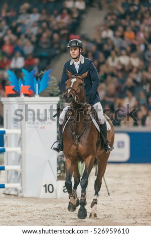 SOLNA, SWEDEN - NOV 25, 2016: Champion of the youngsters event in the Sweden International Horse Show at Friends arena.