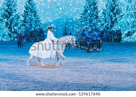 SOLNA, SWEDEN - NOV 27, 2016: Christmas show at the Sweden International Horse Show at Friends arena.