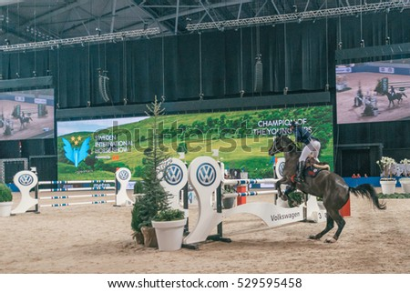 SOLNA, SWEDEN - NOV 27, 2016: Marcus Westergren at the Champion of the youngsters final in the Sweden International Horse Show at Friends arena.