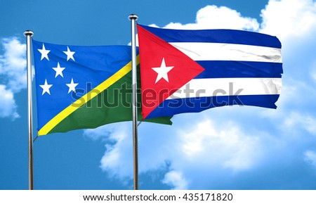 Solomon islands flag with cuba flag, 3D rendering