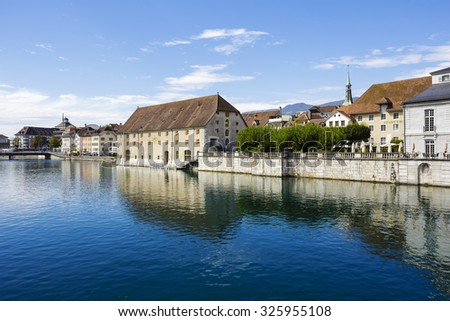SOLOTHURN, SWITZERLAND - SEPTEMBER 16, 2015: The Landhaus, built in 1722, located on the banks of the river Aare, nowadays it offers meeting center which is highly equipped with technical devices - stock photo