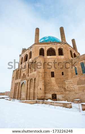 Soltaniyeh Dome,  Soltaniyeh District of Abhar County, Zanjan Province, Iran. - stock photo